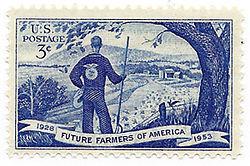 Commemorative 25th anniversary Future Farmers of America postage stamp ...