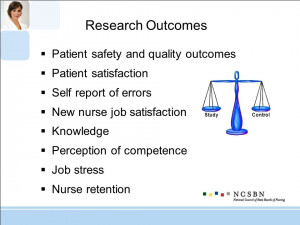 Research Outcomes Patient safety and quality outcomes Patient