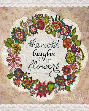Garden floral wall art by Jennifer Lee.