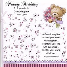 Birthday Wishes For Granddaughter Granddaughter It's your birthday ...
