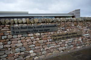 Culloden Visitor Centre wall with in memoriam quotes © 2012 Scotiana