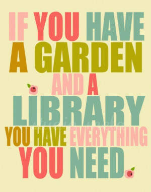 colourful, garden, library, poster, quote