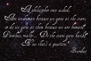 ... the stars gaze back? Now that's a question. -- Neil Gaiman, Stardust