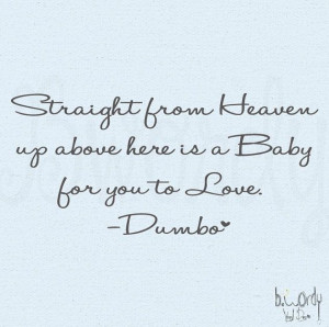 Straight From Heaven Dumbo Saying Nursery Bedroom Vinyl by bwordy, $10 ...