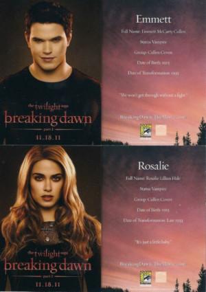 Promotional cards Bella & Edward Rosalie & Emmett of Breaking Dawn !