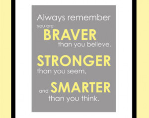 ... You Believe - S tronger Than You Seem Print - Winnie the Pooh Quote