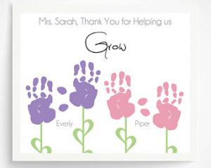 Gift for Teacher, Nanny, Daycare, B abysitter, Hand Print Flower ...