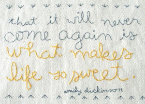 stitchery quote by emily dickinson