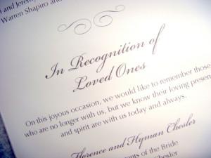 Wedding Wednesday...In Memory of...