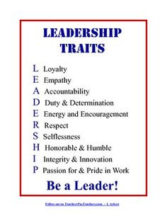 Display this Leadership Traits poster in your classroom to inspire ...