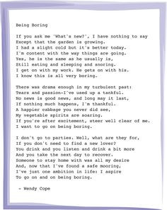 Being Boring - Wendy Cope