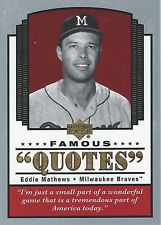 2004 Upper Deck FAMOUS QUOTES set DIMAGGIO MICKEY MANTLE CAL RIPKEN ...