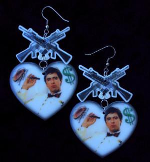 Scarface Tony Montana Earrings, m-13 gun, heart, white and black ...