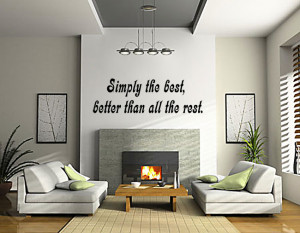 Black Simply The Best (Tina Turner) Lyric wall decal in a sitting room
