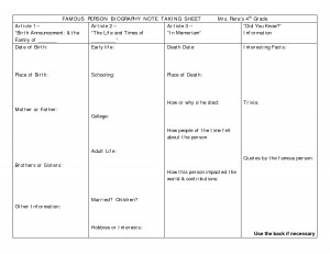 FAMOUS PERSON BIOGRAPHY NOTE TAKING SHEET Mrs. Renz's 4