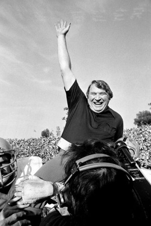 John Madden carried off the field after super bowl victory (1976).