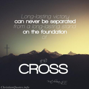 ... Nee Religious Quote - Victory and the Cross - mountains and a cross