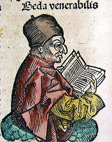 Depiction of the Venerable Bede (on CLVIIIv) from the Nuremberg ...
