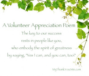 Verses and thank you volunteers poems, plus other sample thank you ...