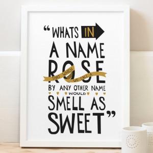William Shakespeare Print - Romantic Quote Print - Typography Print