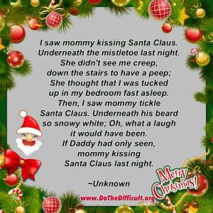 Funny Mommy Kissing Santa Claus Quote