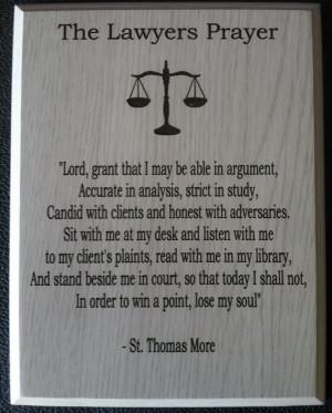 Laser Engraved LAWYER Prayer Plaque