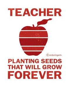 12 on Etsy Red Apple TEACHER Quote Typography Print More