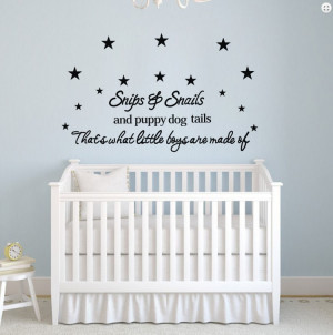 Quotes Snips Snails Removable Home Decor Vinyl Wall Stickers Boys Baby