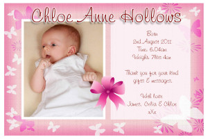 10 Personalised Baby Girl Birth Announcement PHOTO Cards N74