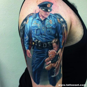Police Officer Thin Blue Line Tattoo
