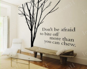 Vinyl Wall Decal winter Bare tree w ithout leaves branch English quote ...
