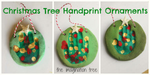 Create some cute handprint Christmas tree ornaments using green ...