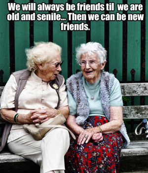 We will always be friends til we are old and senile... Then we can be ...