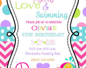 Peace Love Swimming Birthday Party invitations printable or digital ...