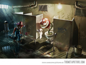 Funny photos funny Mario Bros bathroom plumbing toilet