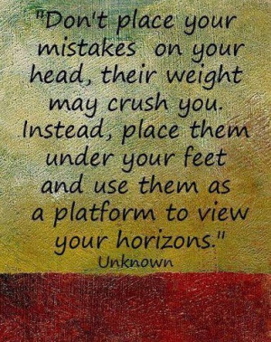 Motivational quote on mistakes and new horizons