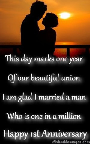 1st wedding anniversary messages for husbandFirst anniversary wishes ...