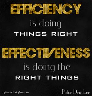 Effectiveness and Efficiency Quote Peter Drucker