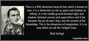There is a fifth dimension beyond that which is known to man. It is a ...