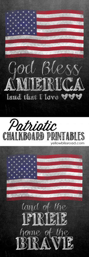 Free Printable Chalkboard with patriotic quotes for 4th of July- lots ...