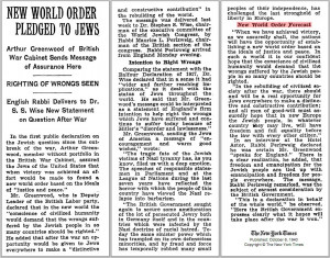 New World Order Pledged to Jews in 1940