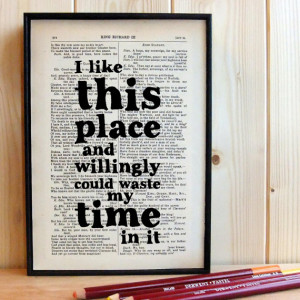 House Warming Gift Shakespeare Quote on framed vintage book page