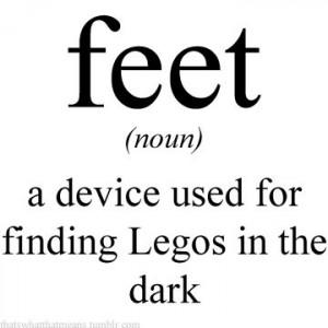 feet, funny, humor, legos, lol, toes, words