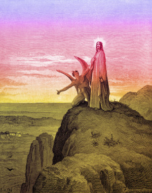 Jesus tempted on the mountain after starving in the desert for forty ...