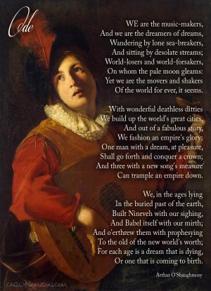 Arthur O'Shaughnessy Ode
