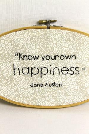 Embroidered Hoop Art Jane Austen Quote