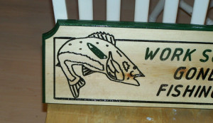 Engraved Funny Wood Sign Work Sucks Gone Fishing Wooden Plaque MTO