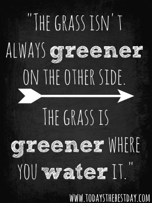 the grass isn't always greener on the other side. the grass is greener ...