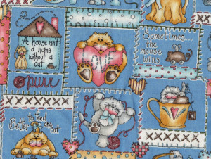 Cats Quilt Fabric - Blue, Pink and Yellow Cats Patchwork Print with ...