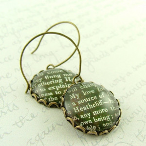 Wuthering Heights Earrings 'Heathcliff' - Emily Bronte Literary Book ...